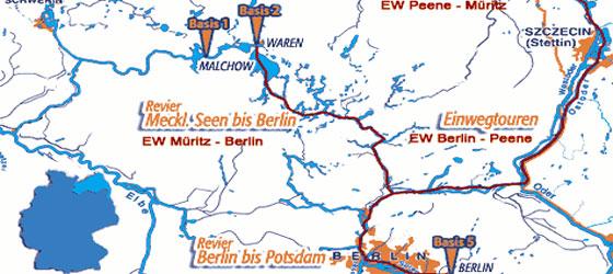 Karte Seen Mecklenburgische Seenplatte.Hausboot Mecklenburger Seenplatte